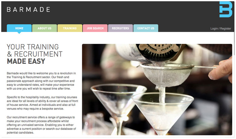 Front page image of the Barmade website website