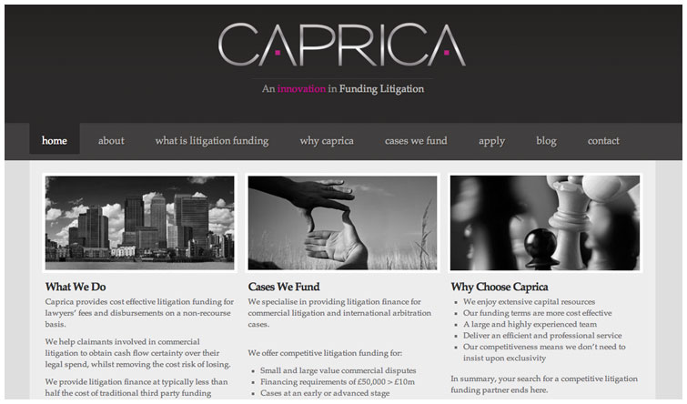 Front page image of the Caprica website