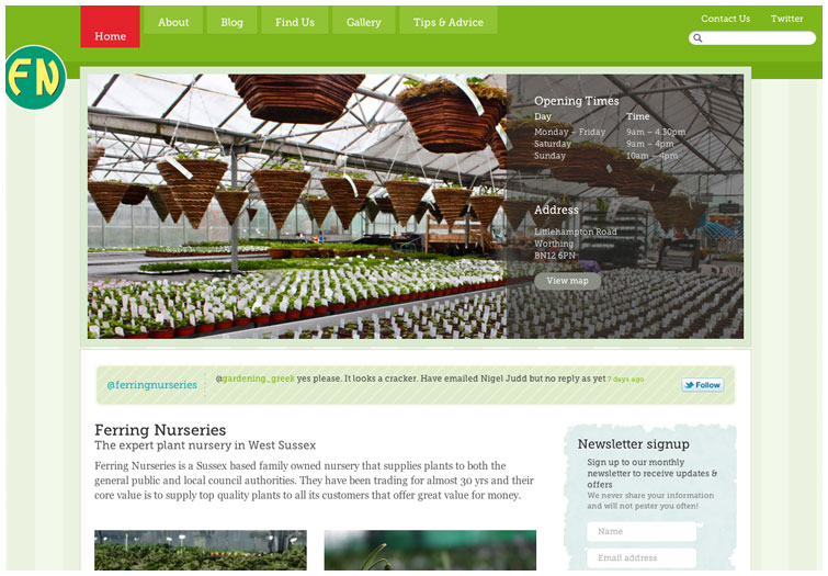 Front page image of the Ferring Nurseries website