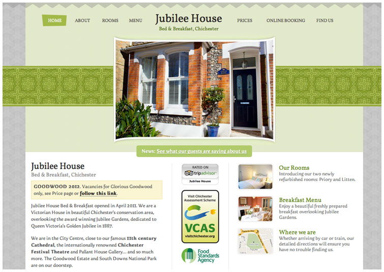Front page image of the Jubilee House Chichester website
