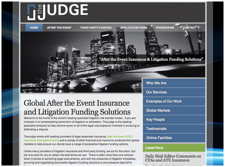Front page image of TheJudge website
